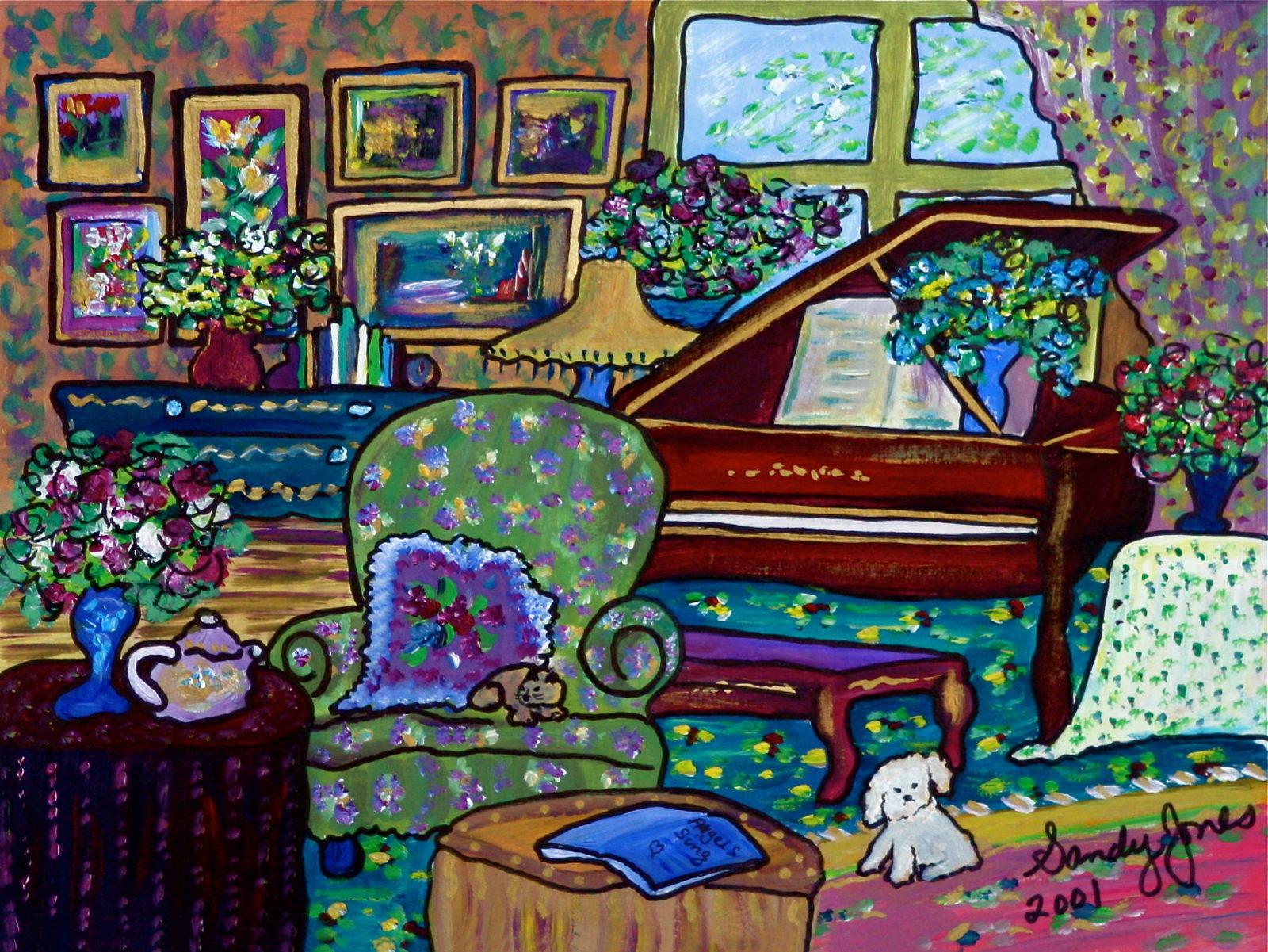 Piano -painting by Sandy Jones - Ojai California